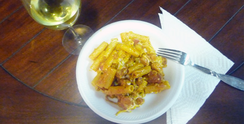 Pasta with Ham and Spanish Sausage